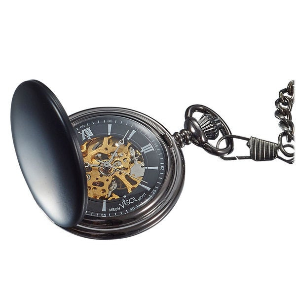 Visol Quincy Black Matte Mechanical Pocket Watch