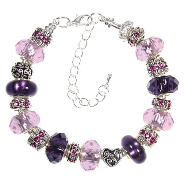 Lilac and Purple Glass Bead and Crystal European Style Charm Bracelet