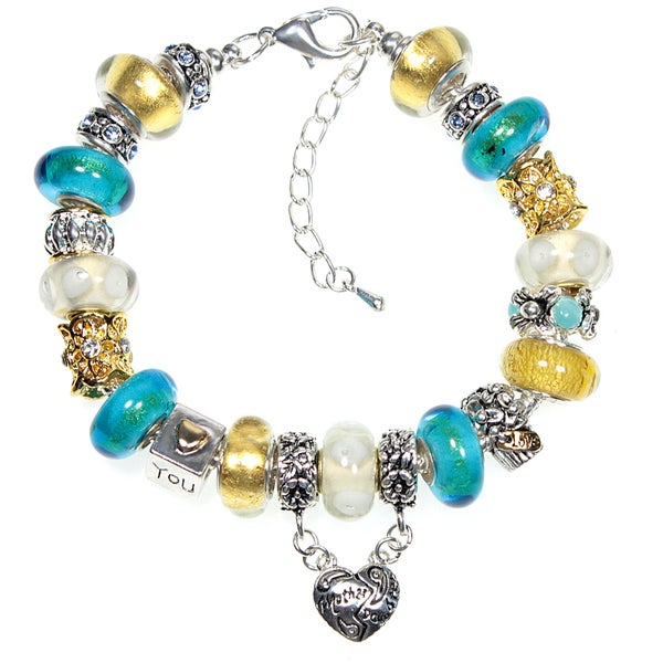 Mother - Daughter Heart Aqua, Gold and White Murano Inspired Glass Bead European Charm Bracelet