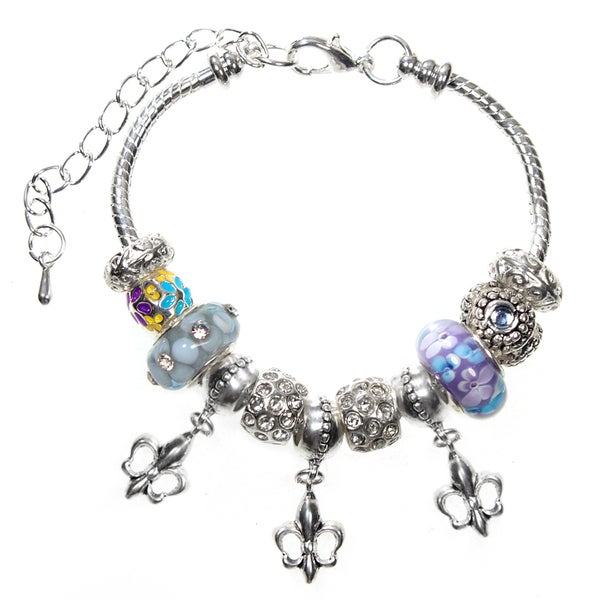 Gorgeous Fleur De Lis Lampwork Glass Bead 18cm European Charm Bracelet Fits Ex Small - Small - Medium - Extender Chain