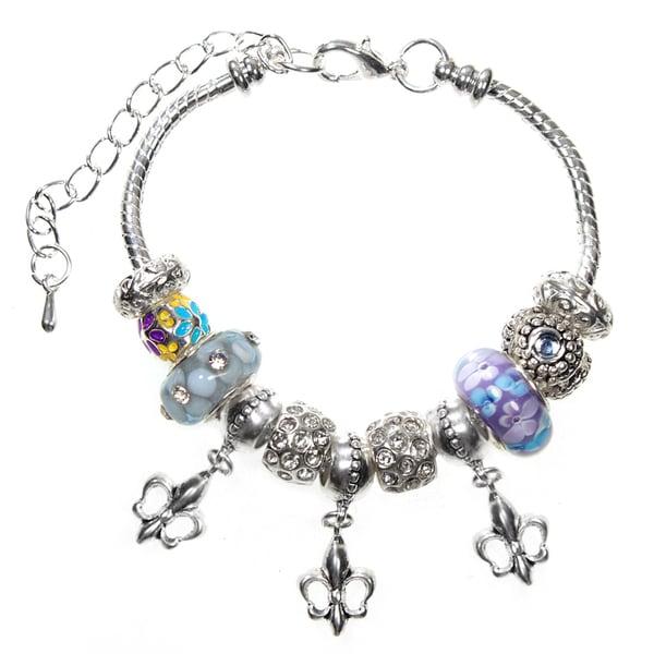 Gorgeous Fleur De Lis Lampwork Glass Bead 18cm European Charm Bracelet Fits Ex Small - Small - Medium - Extender Chain