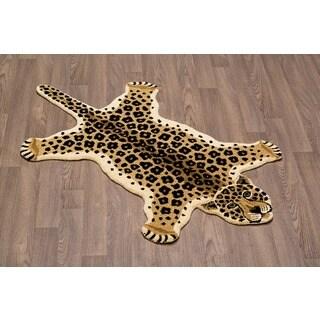 Hand-Tufted Leopard Skin Shape Wool Rug (3' x 5')