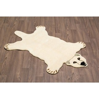 Hand-tufted Polar Bear Shaped Wool Rug - 3' x 5'