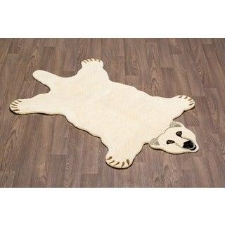 Hand-tufted Polar Bear Shaped Wool Rug (3' x 5')