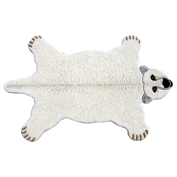 Hand Tufted Polar Bear Shaped Wool Rug 3 X 5