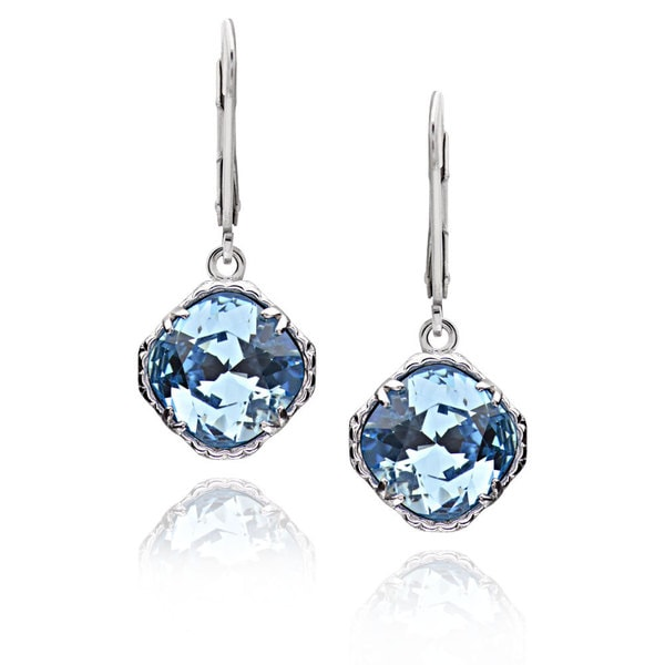 Sterling Silver Square Cushion Crystal Earrings (China)