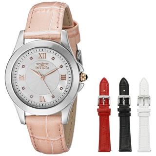 Invicta Women's 12544 Diamond 'Angel' Four-piece Leather Strap Watch Set