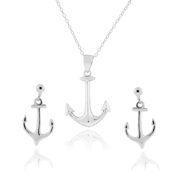 Journee Collection Sterling Silver Anchor Pendant Earrings and Necklace Set