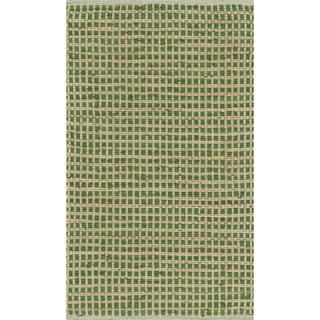 Hand-woven Renato Green Cotton and Jute Rug - 3' x 5'