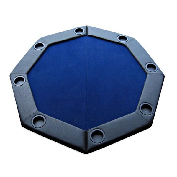 Padded Octagon Folding Poker Table Top with Cup Holders Blue 16407797