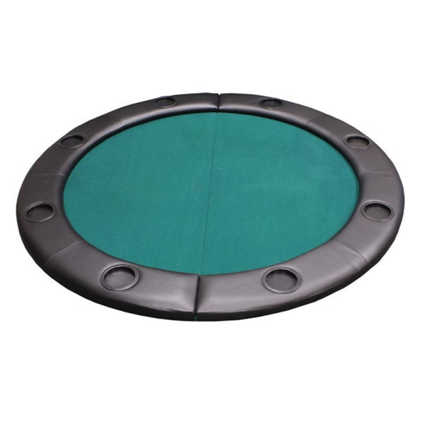 Padded Round Folding Poker Table Top with Cup Holders Green 16407800