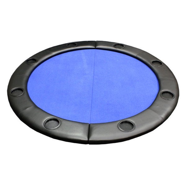 Padded Round Folding Blue Poker Table Top with Cup Holders 16407801