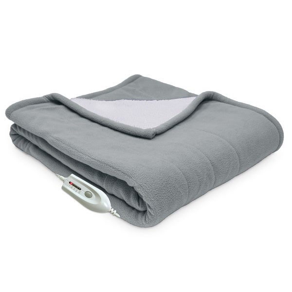 "Serta Heated Electric Microfleece and Sherpa Reversible Throw with 4 Heat Settings (50""x60"")"