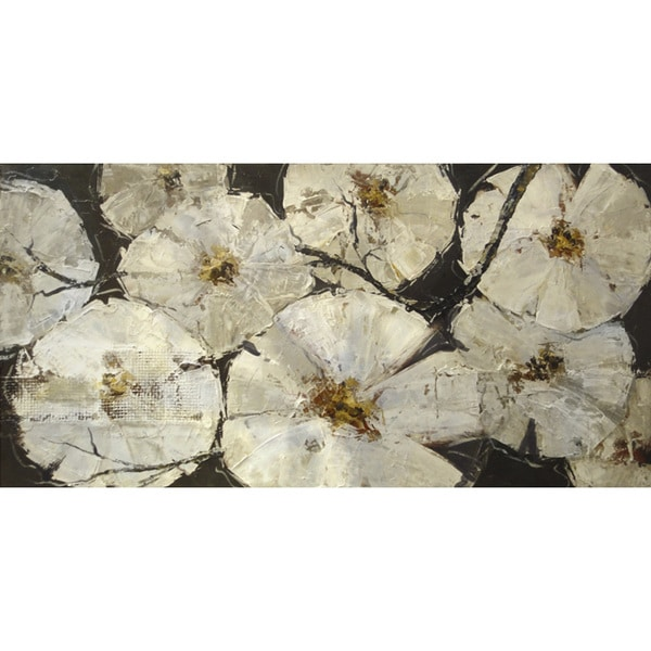 """Floral Stacey Hand-embellished Canvas Giclee 30"""" x 60"""" 16407963"""