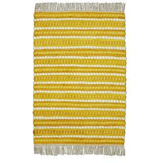 Cotton Woven Yellow Striped Rag Rug (2' x 3')