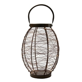 Elements 14-inch Brown LED String Light Lantern
