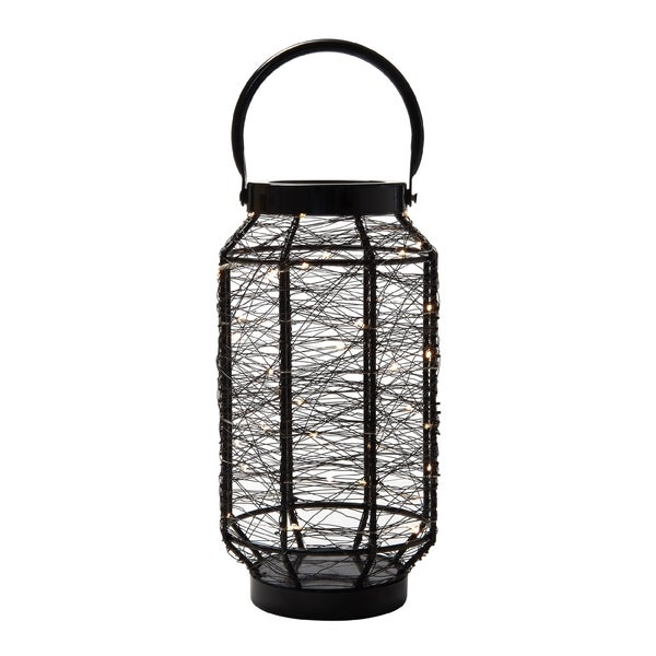 Elements 13-inch Black LED String Light Lantern