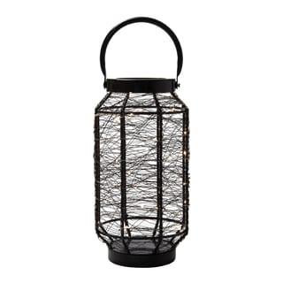 Elements 13-inch Black LED String Light Lantern