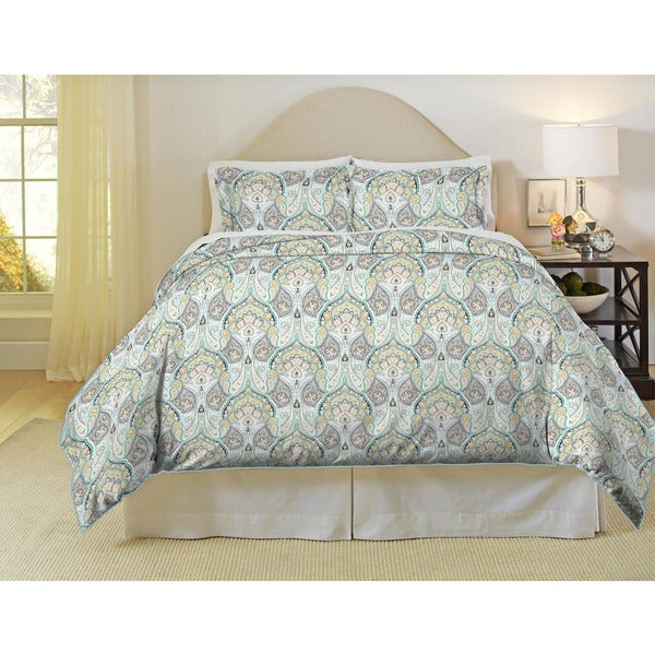 Pointehaven Cypress 200 Thread Count Printed Percale Duvet Set