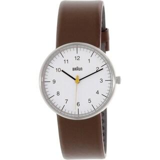 Braun Men's BN0021WHBRG Brown Leather Analog Quartz Watch