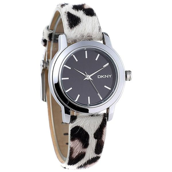 DKNY Women's NY2195 'Soho' Leopard Print Black and white Leather Watch