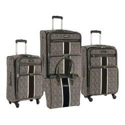 Nine West Naia Black/White 4-Piece Expandable Spinner Luggage Set