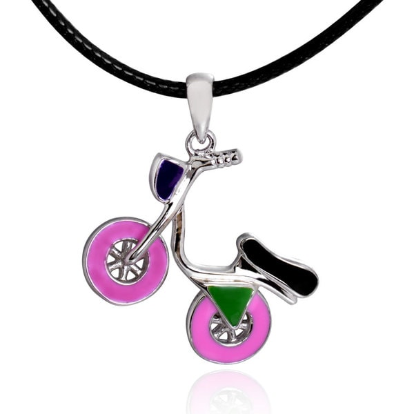 Sterling Silver Multi Enamel Scooter Necklace 28-inch Leather Cord