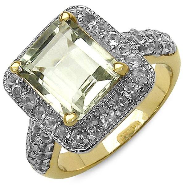 Malaika 14K Yellow Gold Plated 4.69 Carat Genuine Green Amethyst & White Topaz .925 Sterling Silver Ring