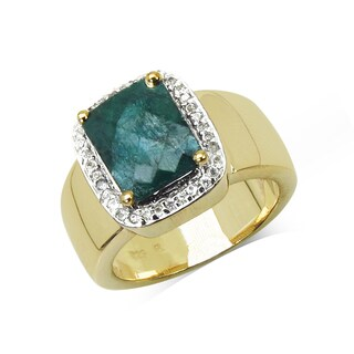 Malaika .925 Sterling Silver 6.12 Carat Genuine Emerald & White Topaz 14K Yellow Gold Plated Ring