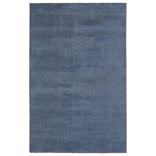 Solid Chic Blue and Brown Hand-Tufted Rug (3'0 x 5'0)