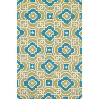 Hand-hooked Charlotte Lime/ Blue Rug (7'6 x 9'6)