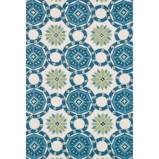 Hand-hooked Charlotte Ivory/ Blue Rug (7'6 x 9'6)