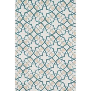 Hand-hooked Charlotte Ivory/ Teal Circle Motif Rug (7'6 x 9'6)