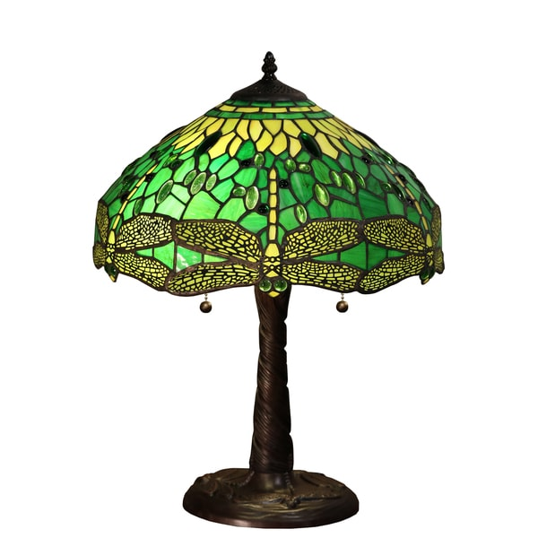Magnus 2 Light Green Dragonfly Tiffany Style 16 Inch Table