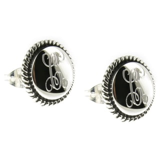 Handcrafted Sterling Silver Engraved Round Rope Edge Post Earrings (Mexico)
