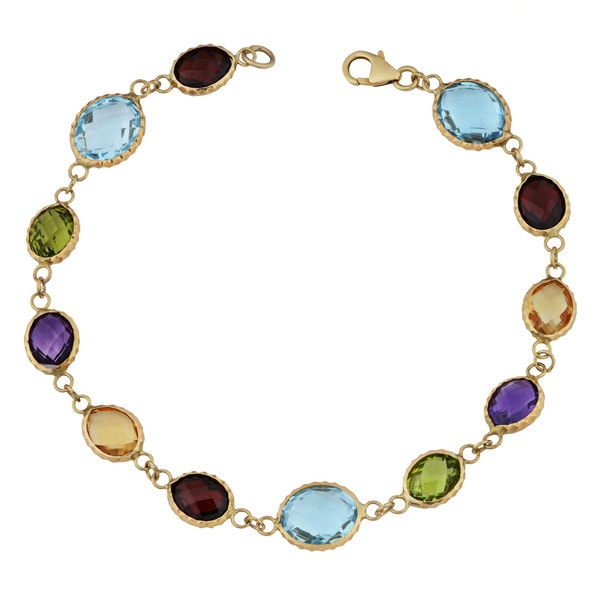Fremada 14k Yellow Gold and Oval Multi Gemstones Bracelet (8 inches)