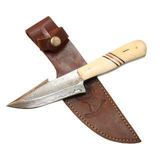 "9"" The Bone Edge Full Tang Damascus Knife with Bone Handle"