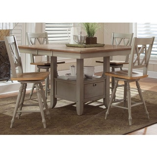 Fresco Taupe and Wood Transitional 54x54 Gathering Table