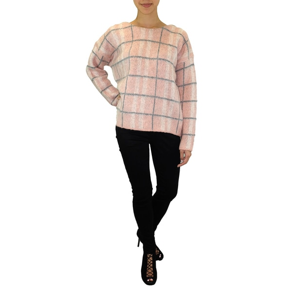 Relished JOA Chunky Knit Blush Pink Plaid Sweater