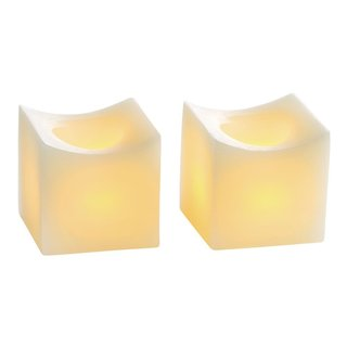"""2"""" Mini Curved Flameless Wax Candles, Cream (2 Pack)"""