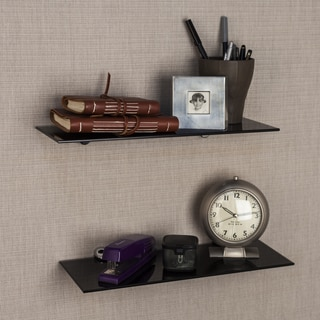 Black Smoke Glass Floating Shelves with Chrome Brackets (Set of 2)