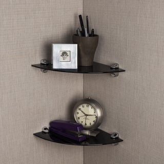 Black Smoke Glass Radial Floating Shelves with Chrome Brackets (Set of 2)