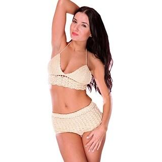 2 piece handmade crochet halter crop top and high waist boyshort