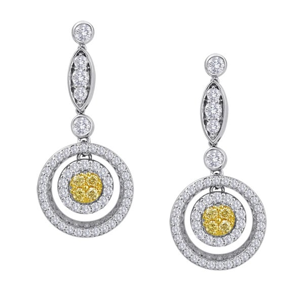 18k White Gold 1 1/8ct TDW Fancy Yellow Diamond Round Dangle Earrings (G-H, SI1-SI2)