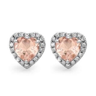 10k White Gold 2 1/4ct TDW Diamond and Heart Morganite Halo Stud Earrings (I-J, I2-I3)
