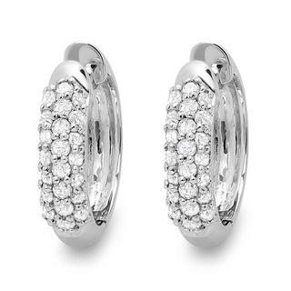 18k White Gold 1/3ct TDW Round Diamond Pave Hoop Earrings (I-J, I2-I3)
