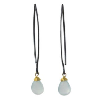 Sterling Silver 'Sublime Blue Sparkle' Chalcedony Earrings (Thailand)