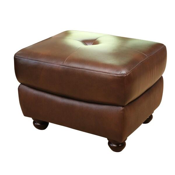 Abbyson Living Underwood Top-grain Leather Ottoman