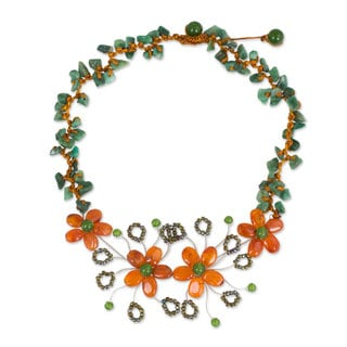 Stainless Steel 'Sunset Bloom' Multi-gemstone Necklace (Thailand)