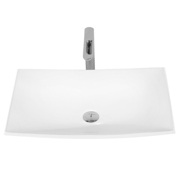 25-3/8-Inch Stone Resin Solid Surface Rectangular Shape Bathroom Vessel Sink
